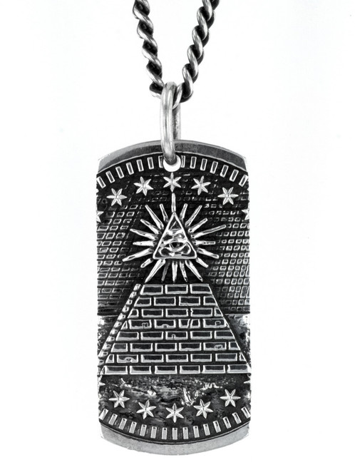King Baby Studio Pyramid Eye of Providence Dog Tag Pendant K10-9178