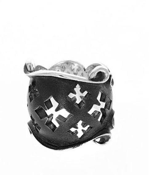 King Baby Studio Sterling Silver MB Cross Shield Ring K20-6120