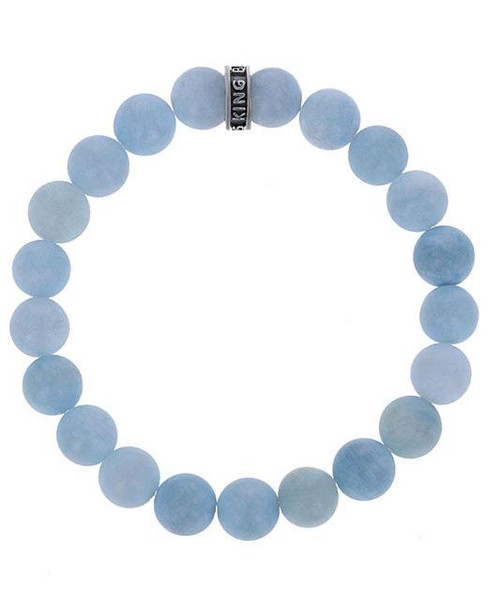 King Baby Studio 10mm Light Blue Aquamarine Beaded Bracelet K40-5804ALB