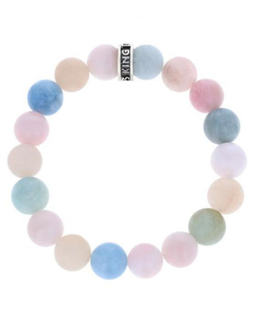 King Baby Studio 10mm Assorted Aquamarine Beaded Bracelet K40-5804AAS