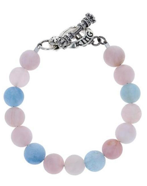 King Baby Studio 10mm Assorted Aquamarine Bead Bracelet w/Clasp K42-5156AAS