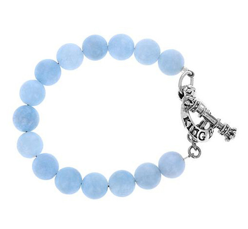 King Baby Studio 10mm Blue Aquamarine Bead Bracelet w/ Clasp K42-5156ALB