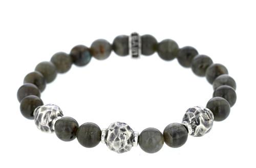 King Baby Studio 9mm Labradorite Bracelet w/ Hammered Beads K42-6009