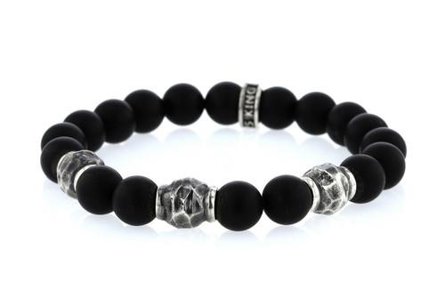 King Baby Studio 10mm Matte Onyx Bracelet w/Hammered Beads K42-6008