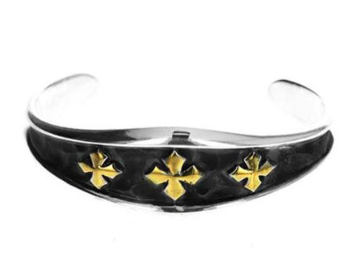 King Baby Studio Hammered Triple MB Cross Cuff Bracelet K40-6504