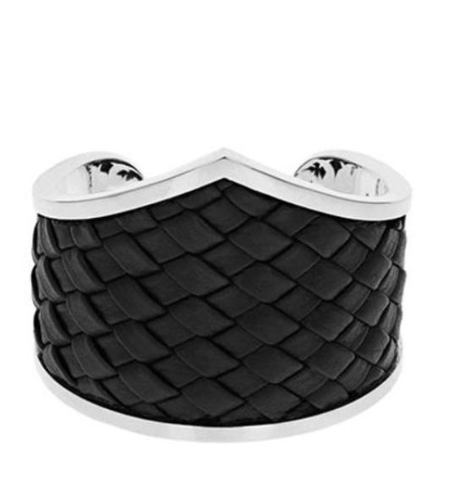 King Baby Studio Woven Leather MB Cross Cuff Bracelet K40-8142