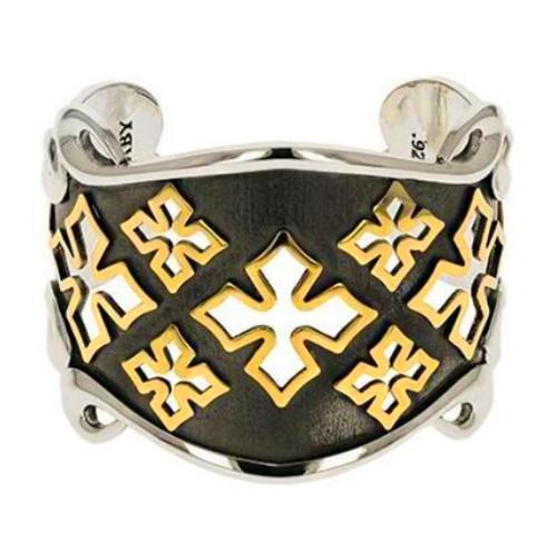 King Baby Studio MB Cross Shield Cuff Bracelet Gold Alloy K40-8143