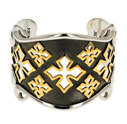 King Baby Studio MB Cross Shield Cuff Bracelet Gold Alloy K40-8143
