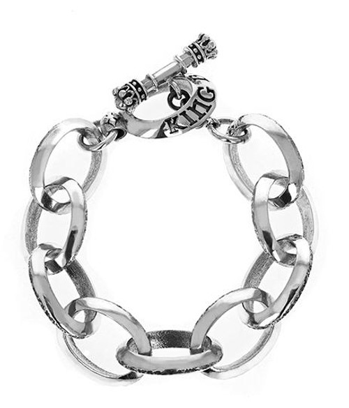 King Baby Studio Large Beveled Link Bracelet w/ T-Bar & Toggle K42-6005