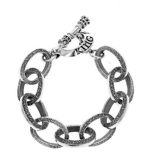 King Baby Studio Large Textured Link Bracelet w/ T-Bar & Toggle K42-6004