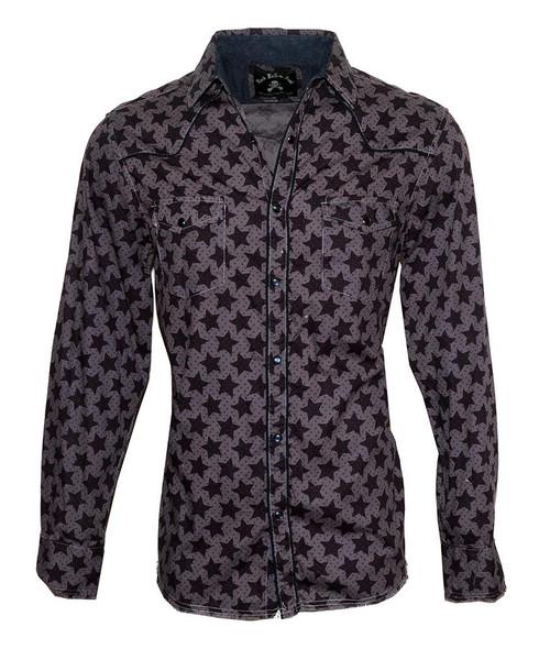 PS Rock Roll n Soul Starman Overdyed Western Shirt Charcoal RRMW366OD-CHA
