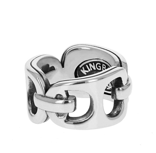 King Baby Large Pop Top Band Ring Sterling Silver K20-4006
