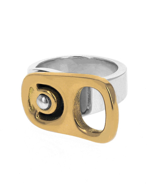King Baby Studio 18k Gold Horizontal Pop Top Ring Silver K20-4001G