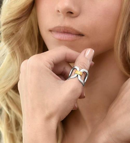 King Baby Studio Large Pop Top Infinity Ring 18K Gold Silver K20-4003G