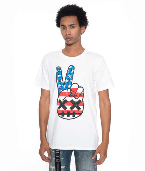 PS Cult of Individuality Men's July 4th Peace Crew T-shirt White 69A5-K101A