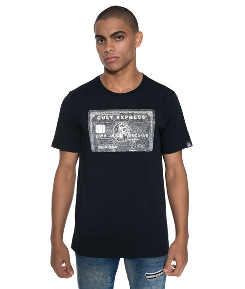 PS Cult of Individuality Men's Reflected Express Crew T Shirt Black 69A3-K93A