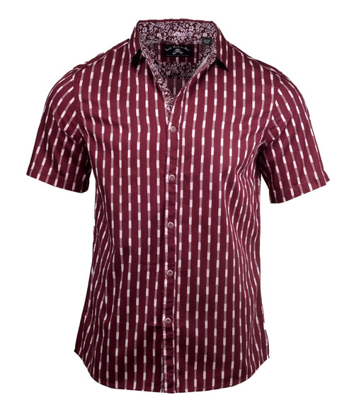 PS Rock Roll n Soul Abbey Road Chevron Red Short Sleeve Shirt RRMW208SS-BUR