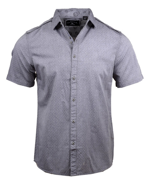 PS Rock Roll n Soul Let's Dance Gray Short Sleeve Button Front Shirt RRMW333SS