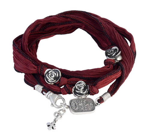 King Baby Studio Multi-Wrap Cherry Red Silk Bracelet with Roses K42-5555