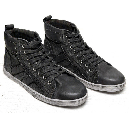 Bed Stu Men's Brentwood Black Garment Dye Canvas Hi-Top Sneakers F437501