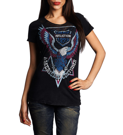 Affliction Women's High Beams Scoop neck T-shirt Black Lava AW11519