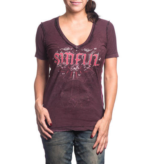 Sinful Women's Souls United Reversible V-neck T-shirt Eggplant S3540