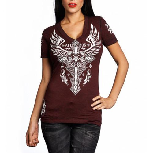 Affliction Women's Montreaux V-neck T-shirt Dirty Red Burnout AW11528