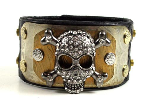Brunner's Metalwear Layered Black Leather Blingy Skull Bracelet
