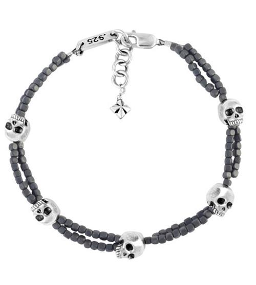 King Baby Grey Square Hematite Double Strand Bracelet w/ Skulls Silver K42-8226
