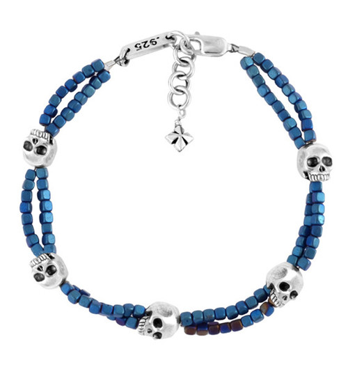 King Baby Studio Blue Square Hematite Double Strand Bracelet w/ Skulls K42-8226