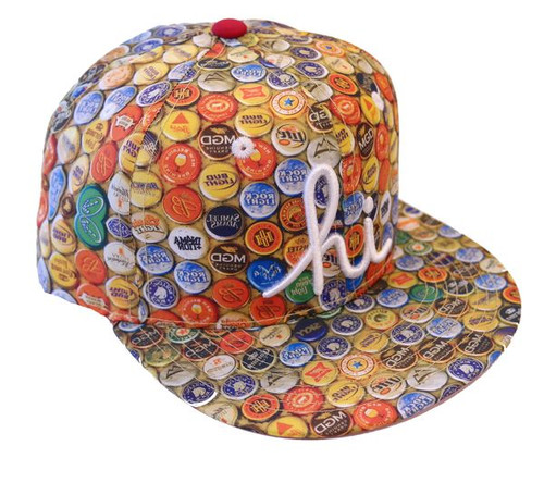 In4mation Bust Beer Bottle Caps Snapback Hat Flat Brim Multi  IN4M-378-OS