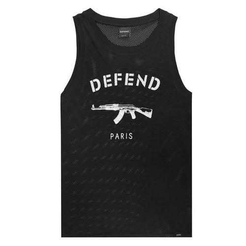Defend Paris Men's AK Logo Mesh Tank Black SS1507