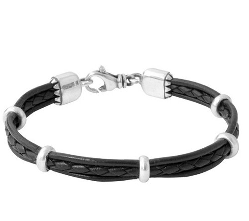 King Baby Multi Stranded Leather Bracelet w/ Silver Rondelle Beads