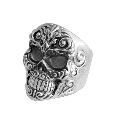 King Baby Small Floral Scroll Relief Skull Ring Sterling Silver K20-5934