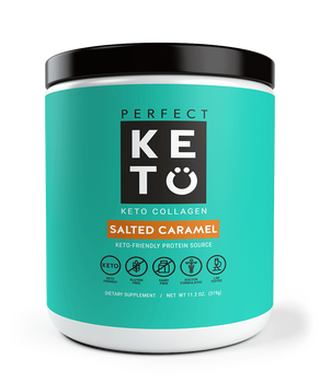 Perfect Keto Salted Caramel Collagen Protein Keto Diet friendly shake mix. Weight Loss Protein Shake
