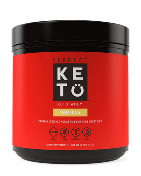 Perfect Keto Vanilla Whey Protein Shake. Ketosis Protein shake with MCTs