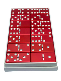 Red dominoes, dominoes, metal dominoes, aluminum dominoes