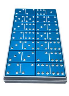 dominoes, light blue dominoes, custom dominoes, aluminum dominoes, metal dominoes