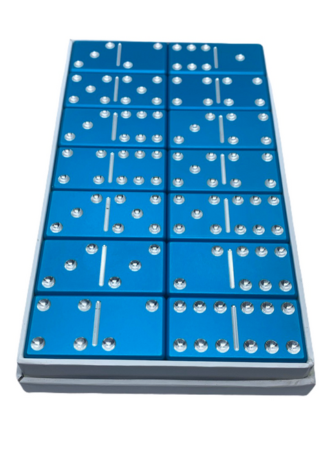 dominoes, light blue dominoes, custom dominoes, aluminum dominoes, metal dominoes