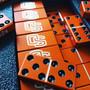 Swarovski crystal domino set, Tournament, Tournament double 6, custom dominoes, Aluminum dominoes, orange dominoes