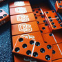 Swarovski crystal domino set, Tournament, Tournament double 6, custom dominoes, Aluminum dominoes, orange dominoes