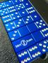 Dominoes, Blue Dominoes, Custom Dominoes, Metal Dominoes, Engraved Dominoes. Aluminum Dominoes