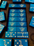 Dominoes, Blue Dominoes, Custom Dominoes, Metal Dominoes, Engraved Dominoes. Aluminum Dominoes