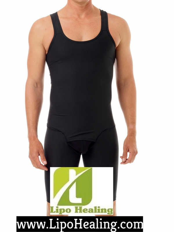 This Stage 2 sleeveless, above the knee, full body compression garment designed ideal for use following Plastic Surgery,  liposuction of the abdomen, thighs and is typically worn during Stage 2 of recovery (2-8 weeks of post-op). Provides support to surgical areas for more comfort and helps the skin fit better to its new contours.