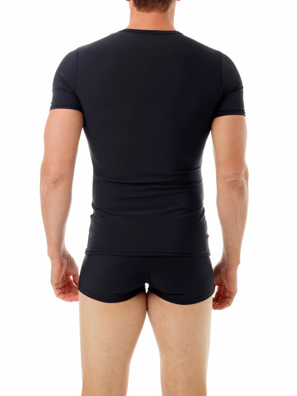 Ideal for use during the extended recovery period following gynecomastia and liposuction of the upper body. Made from our exclusive fabric which offers maximum compression to the chest, upper back and flanks and upper and lower abdomen. A tapered design provides a contoured fit and allows this shirt to be worn under every day clothing, ultimately contributing to increased patient compliance and a comfortable recovery.