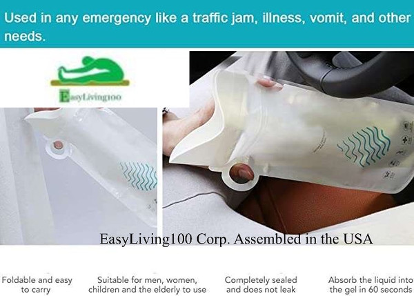 Portable Disposable Urinal Unisex Travel Size  Fits in Pocket or Purse 700ml Unisex by EASYLIVING100, CORP.