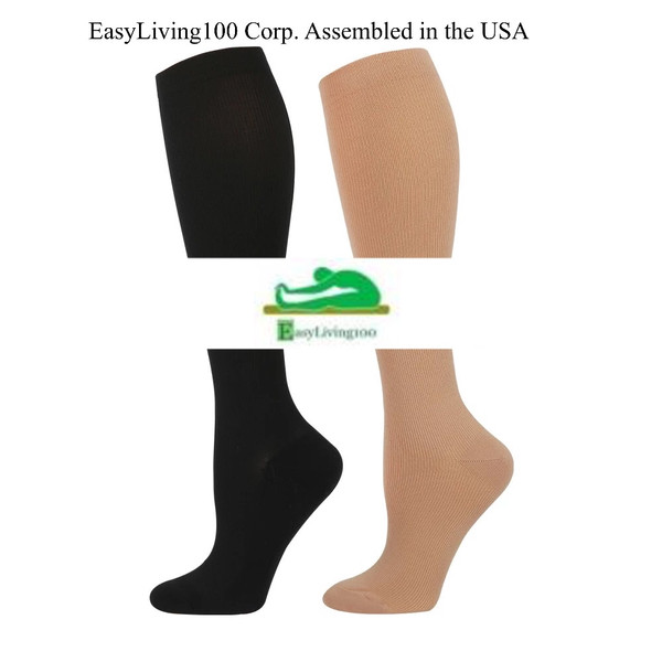 Whether you're traveling on a long-haul flight, or sitting and standing all day at work, compression socks not only relieve your tired and swollen feet… they also help you prevent dangerous health conPLEASE SEND A MESSAGE WITH SIZE AND COLOR NEEDED.  IF NOT THIS LISTING IS FOR  SIditions associated with prolonged immobility. ZE MEDIUM AND BEIGE COLOR. (1) SANITIZER PEN AND (1) LIPOFOAM STRIP WILL BE INCLUDED FREE WITH PURCHASE.  When you're admitted to hospital, your risk of DVT will be assessed to decide whether you need compression stockings.  You may need to wear stockings even if you're able to leave hospital on the same day as your operation.  Your risk of developing DVT may be increased if:  you're having surgery on your hip, knee, legs or abdomen you need to have a general anaesthetic for more than 90 minutes you're expected to be a lot less mobile after surgery (if you have to stay in bed for some time, you can't walk without help, or spend most of the day in a chair) Wearing compression stockings is one way of reducing your risk of developing DVT.  Your risk can also be reduced by making sure you drink enough fluids (check with your surgeon how much you should be drinking) and moving around as soon as possible after your operation.
