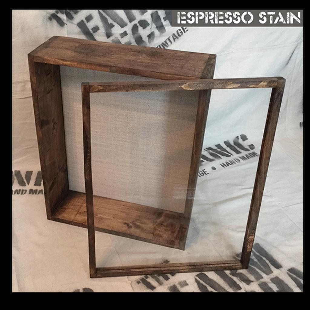 """Shadow Box - Artisan Rustic -16"""" W x 20"""" H x 4"""" D Espresso"""