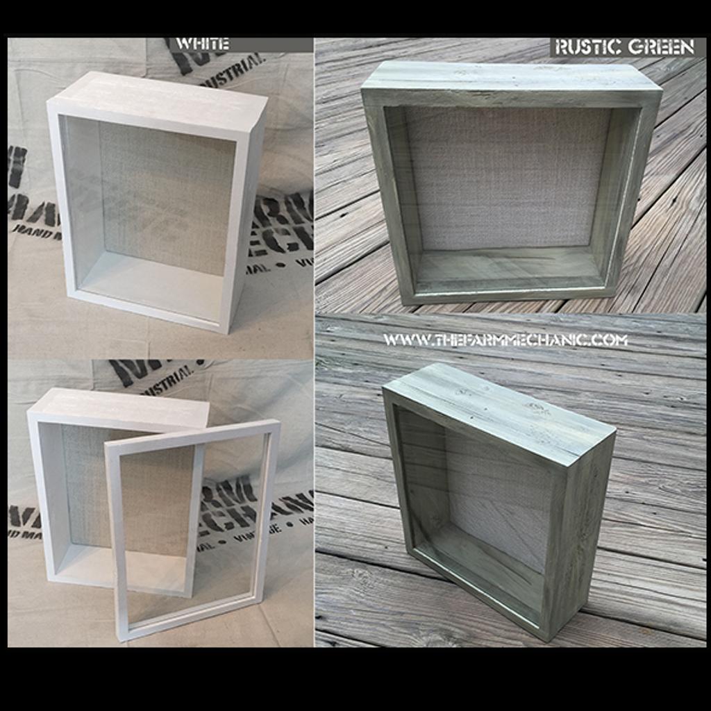 "Shadow Box - Artisan Rustic -18"" W x 24"" H x 1"" D White/Rustic Green"