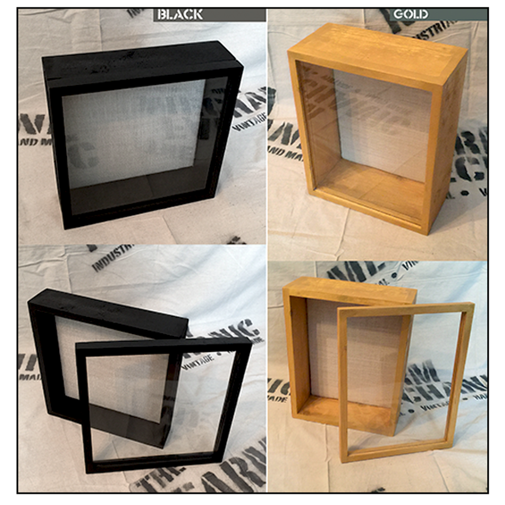 "Shadow Box - Artisan Rustic -18"" W x 24"" H x 3"" D Black/ Gold"